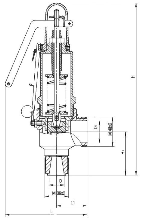 Клапан предохранительный 17б5бк Ду 25 Ру16