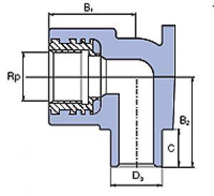 Угольник внутренний с внутренней металлической резьбой