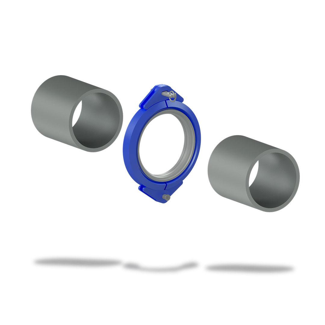 Быстроразъемное соединение БРС высокого давления с клином отдельно трубы