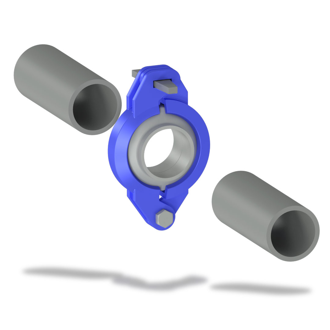 Быстроразъемное соединение БРС низкого давления с клином отдельно трубы
