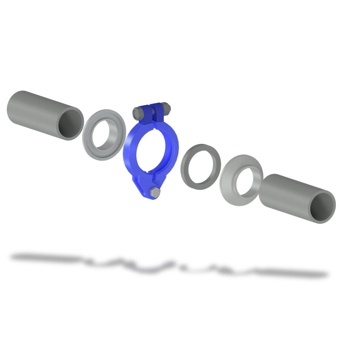 Быстроразъемное соединение БРС низкого давления с болтом взрыв